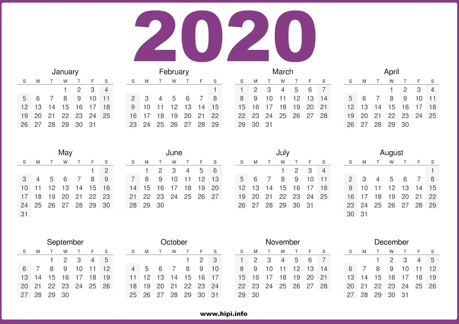 Twitter Headers / Facebook Covers / Wallpapers / Calendars: 2020 4J Calendar 2019