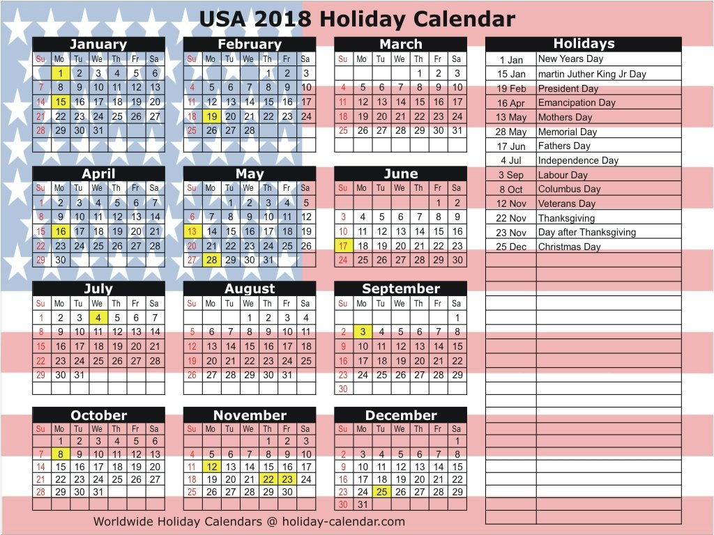 United States 2018 / 2019 Holiday Calendar Calendar 2019 Holidays Usa