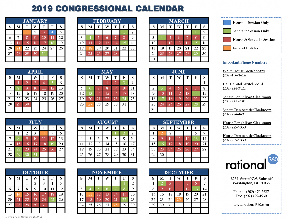 United States Senate Periodical Press Gallery U.s. Senate Calendar 2019