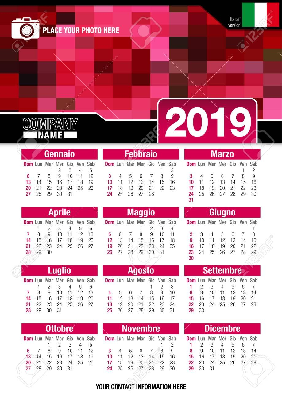 Useful Wall Calendar 2019 With Design Of Red Colors Mosaic. Vertical Design A Calendar 2019