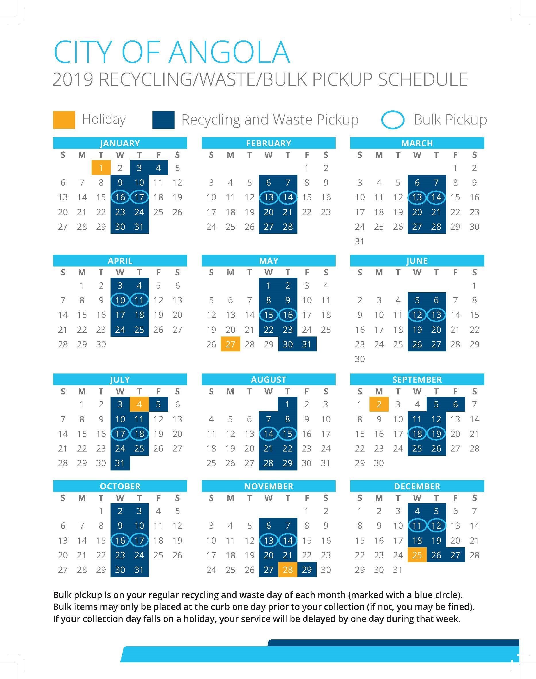 Utilities / City Of Angola, Indiana Calendar 2019 Bulk