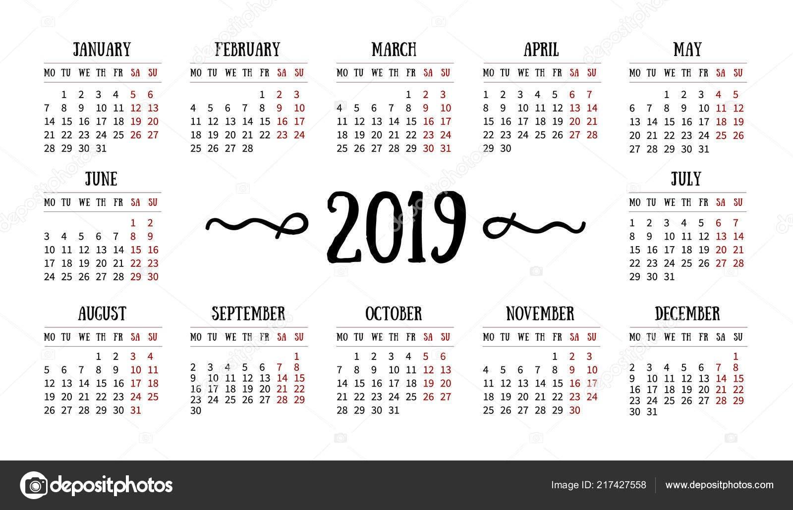 Vector Calendar Grid 2019 White Background Doodles Decor Template Calendar 2019 Grid