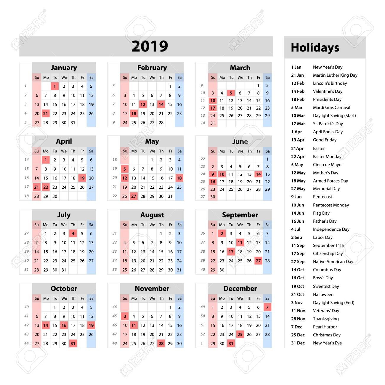 Vector Simple Calendar 2019 - One Year At A Glance - Starts Monday Calendar 2019 At A Glance