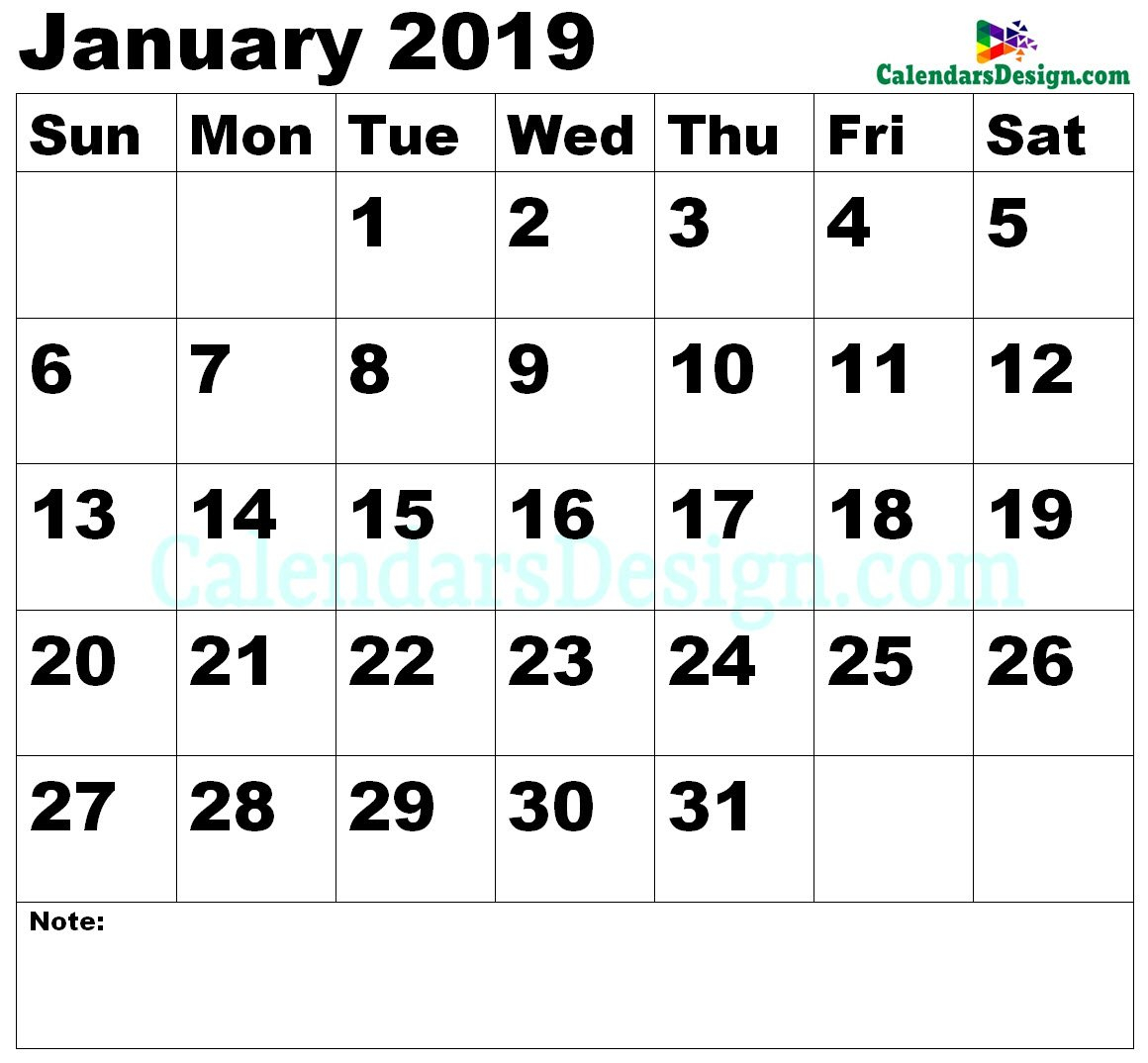 Vertex January Calendar 2019 Printable - Free 2019 Printable Calendar 2019 Vertex