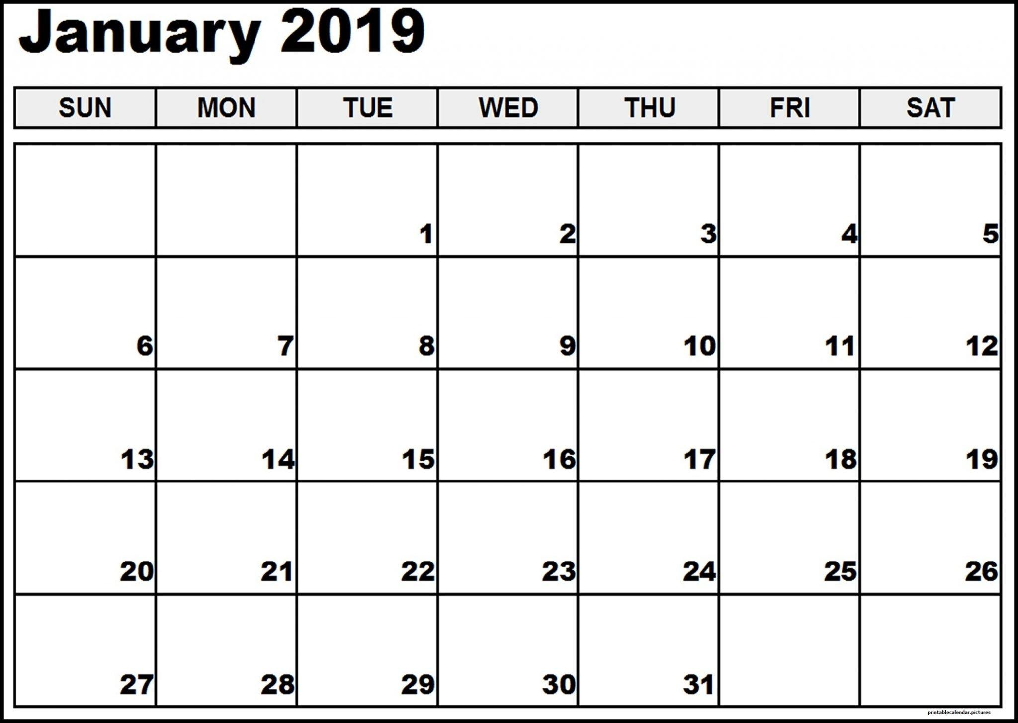 Vertex January Calendar 2019 Printable - Free Printable Calendar Calendar 2019 Vertex