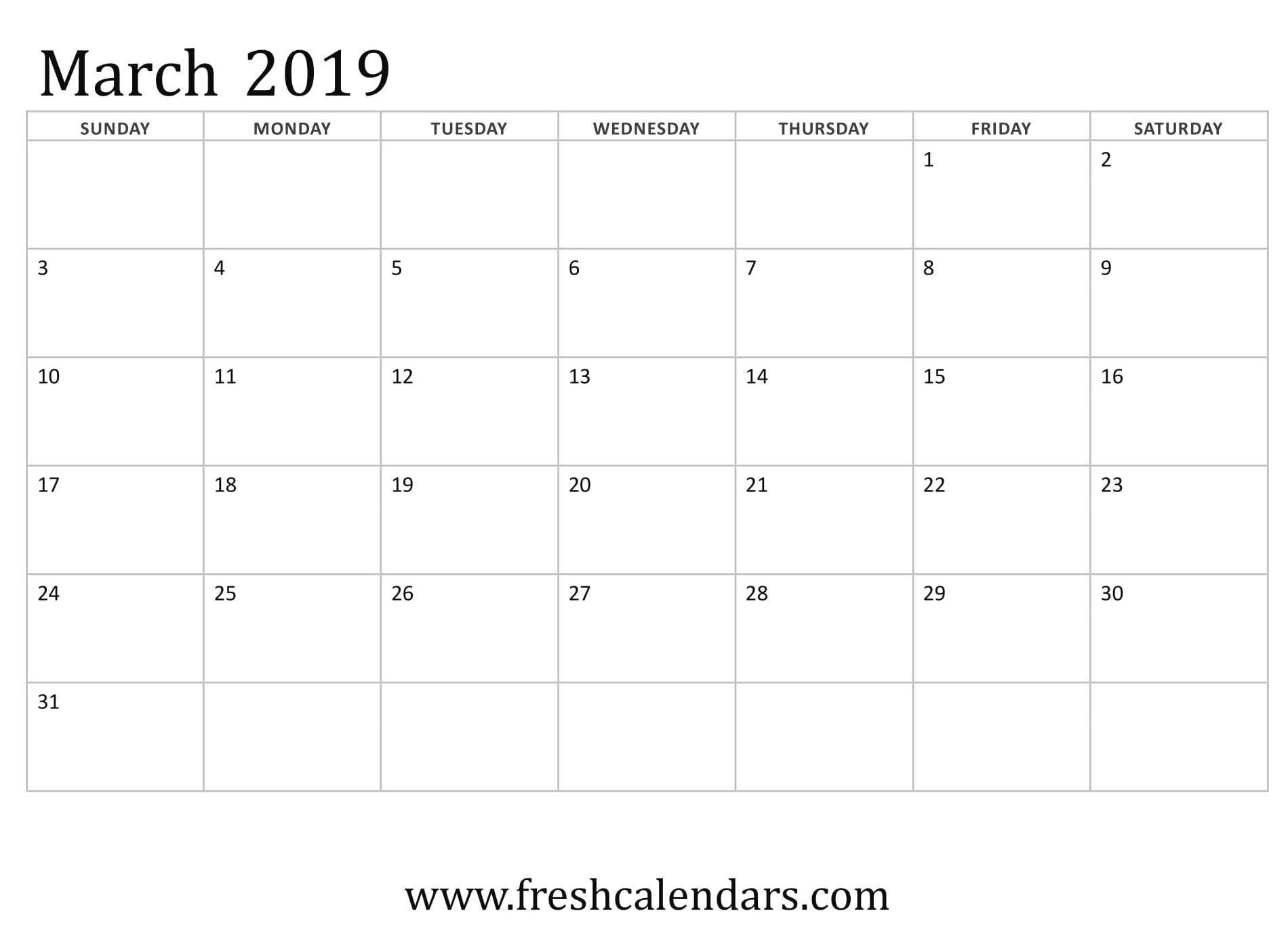 Vertex March Calendar 2019 Printable | Free March 2019 Calendar Calendar 2019 Vertex