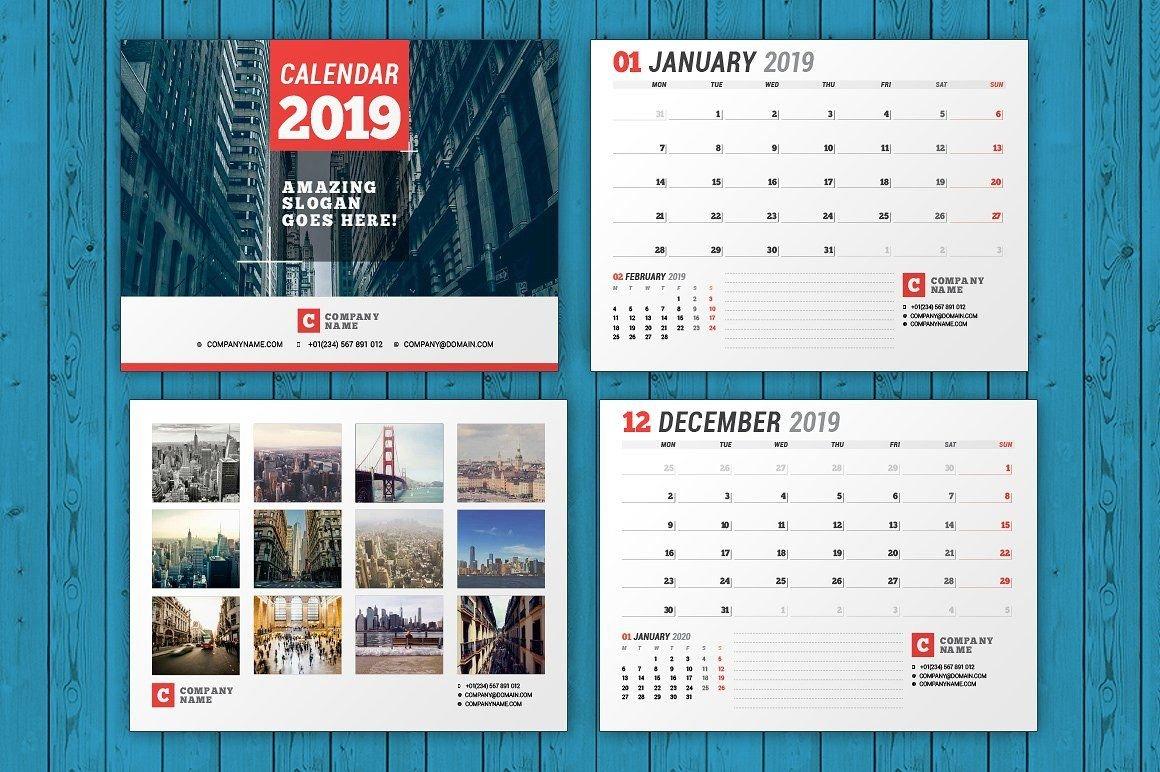 Wall Calendar 2019 (Wc037-19) #monday#starts#download#features Calendar 2019 Indesign