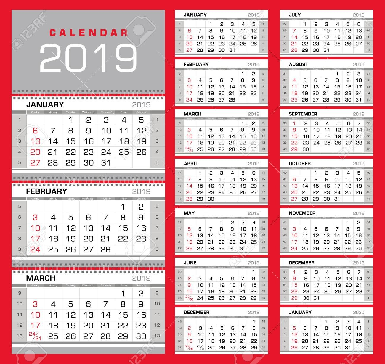 Wall Quarterly Calendar 2019 With Week Numbers On White Background Calendar Week 32 2019