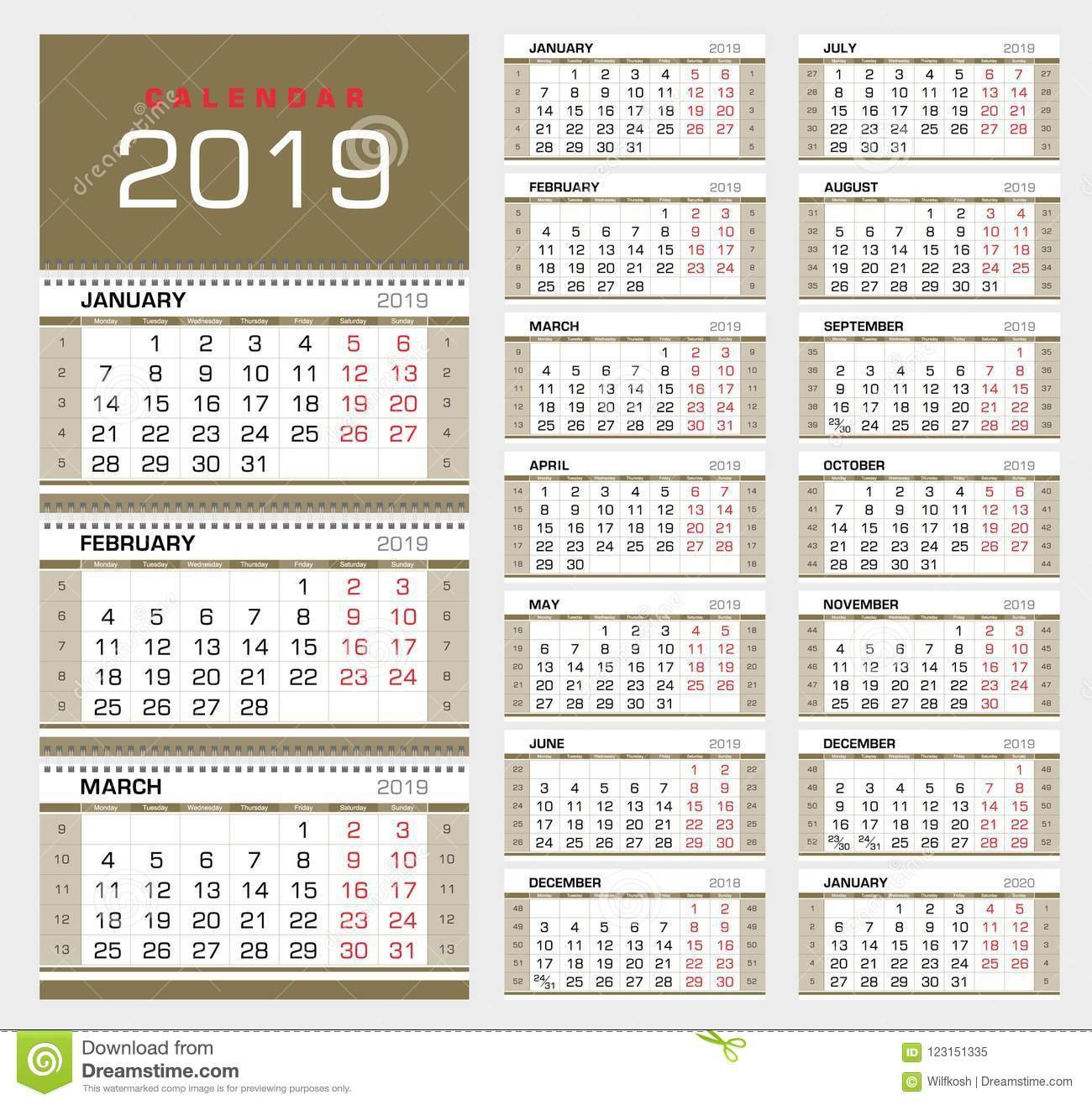 Wall Quarterly Calendar 2019 With Week Numbers. Week Start From Calendar Week 43 2019