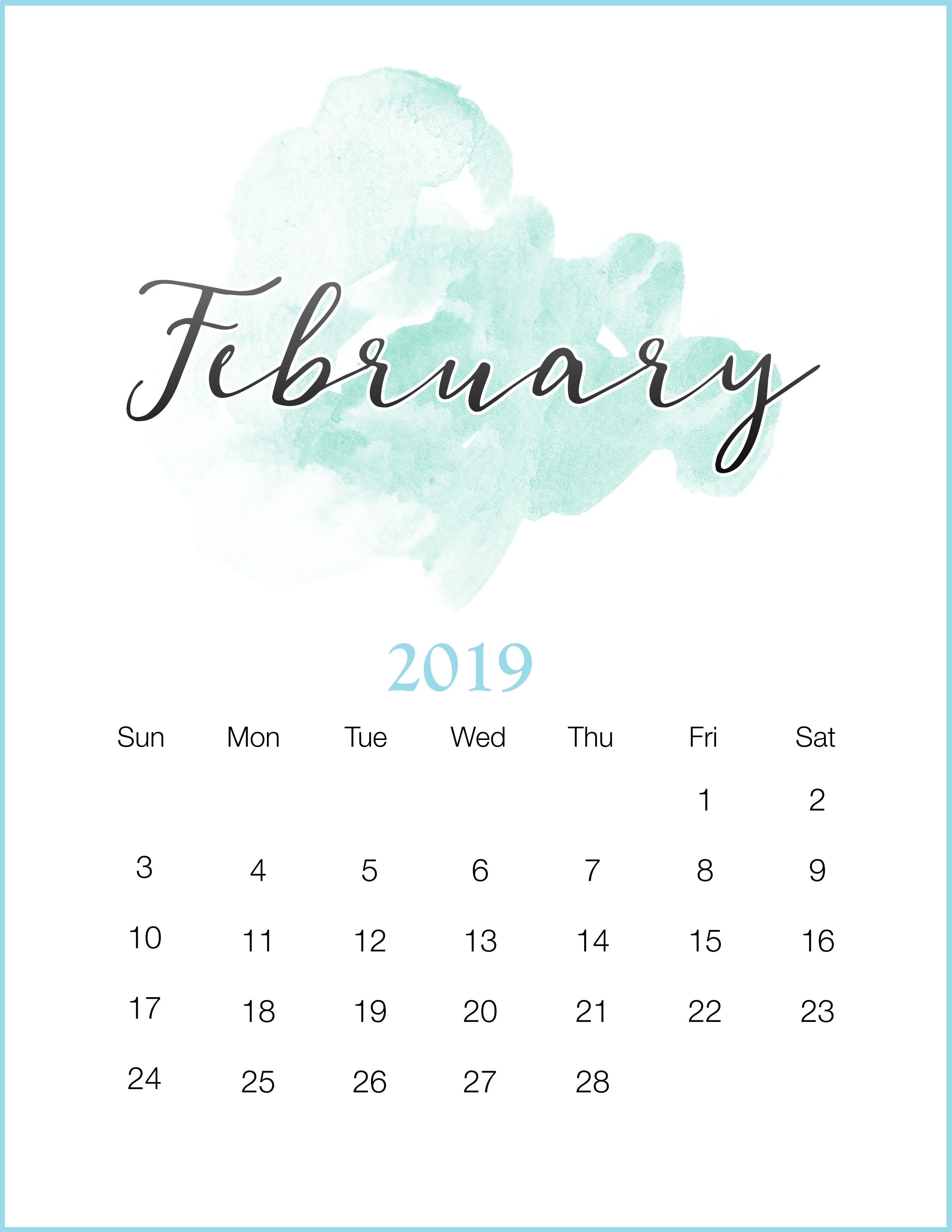 Watercolor 2019 February Printable Calendar #february2019 Calendar 2019 Diy