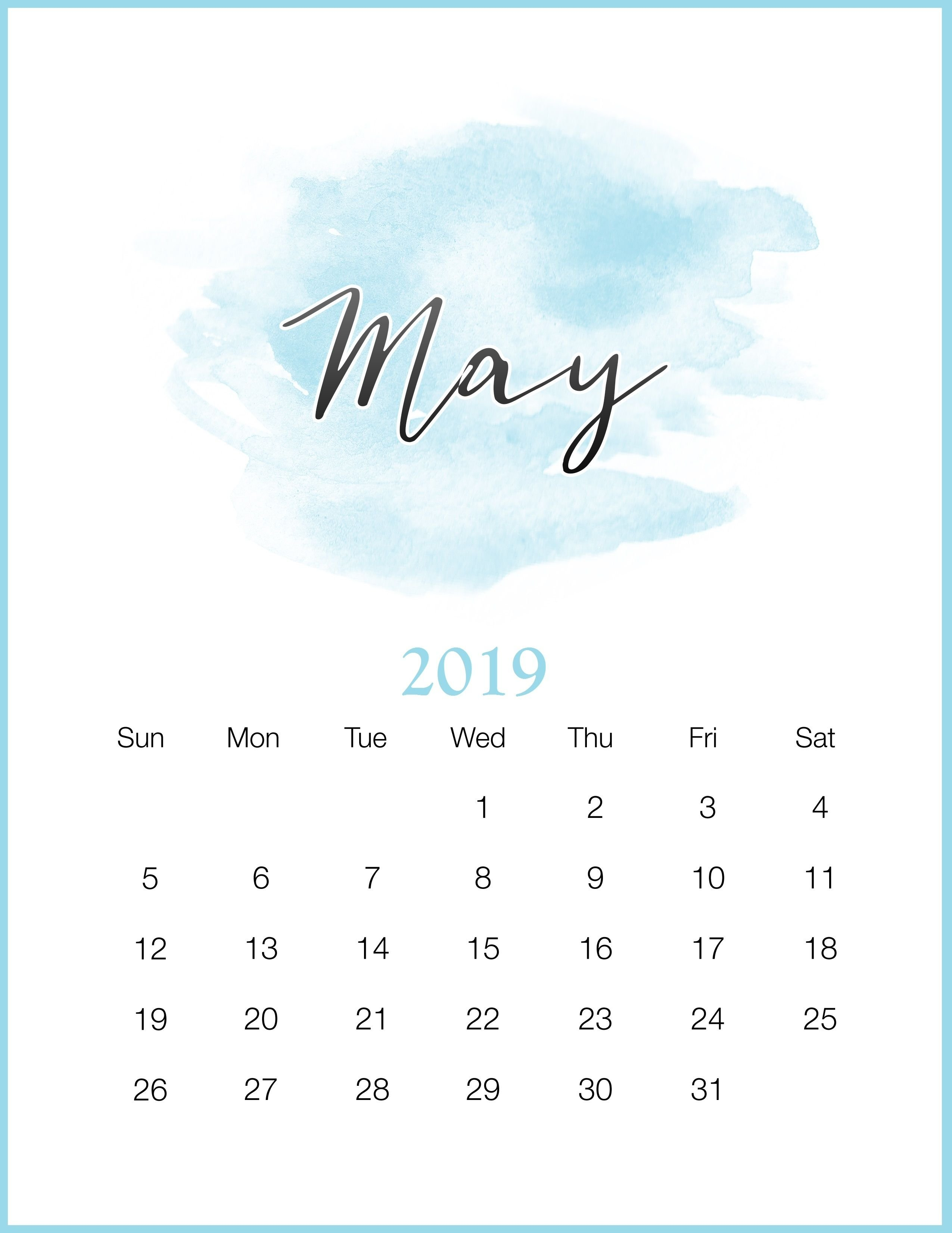 Watercolor 2019 Monthly Printable Calendar Calendar 2019May 2019 May 7 2019 Calendar