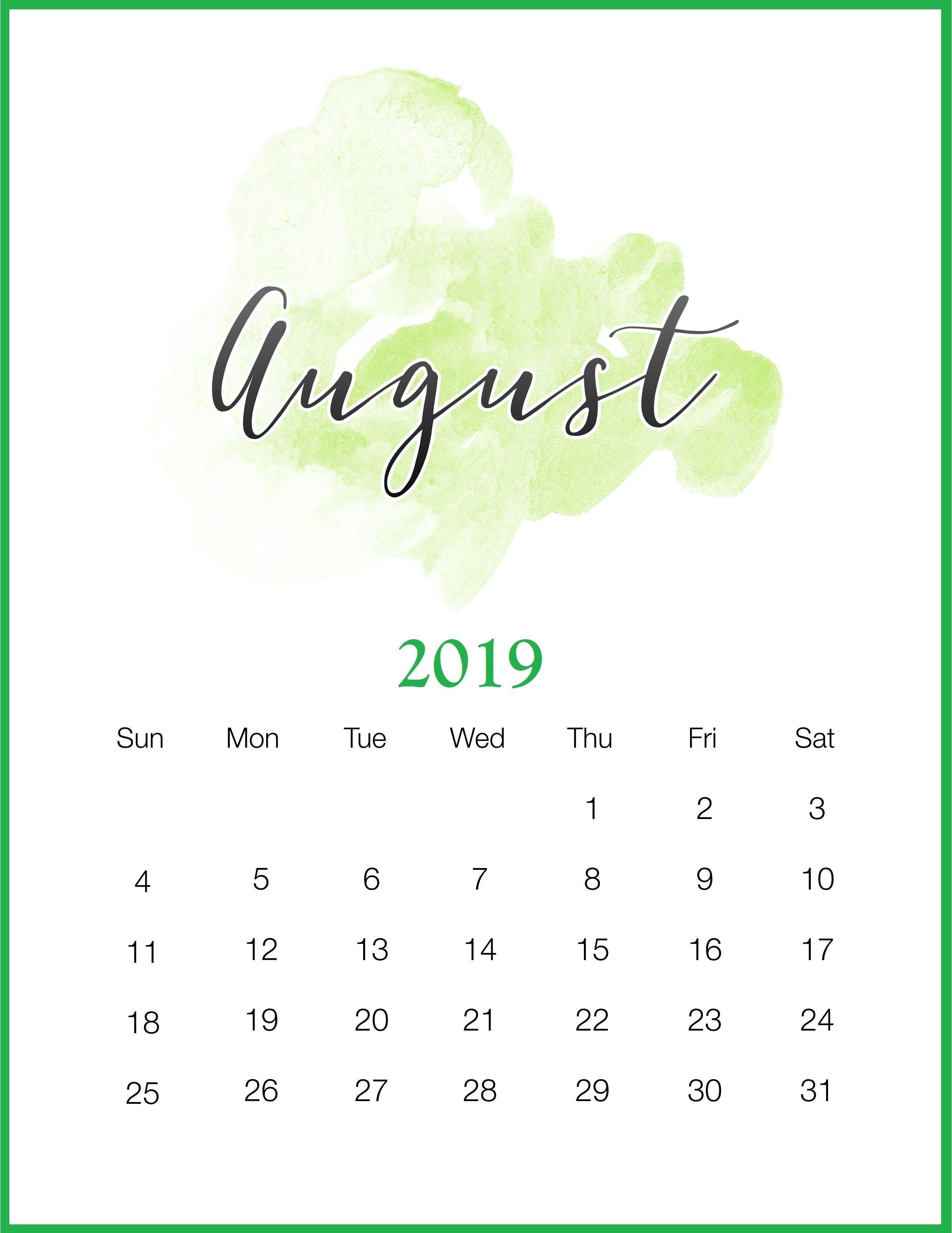 Watercolor August 2019 Calendar #august #august2019 #2019Calendar August 9 2019 Calendar