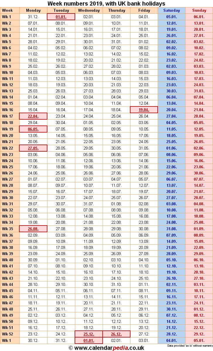Week Numbers 2019, With Bank Holidays & Excel/pdf/word Templates Calendar 2019 Numbered Weeks