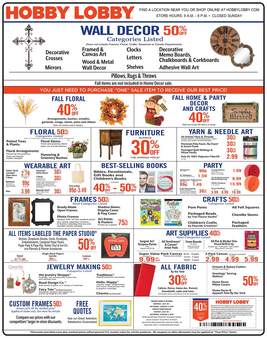 Weekly Ad & Coupon Calendar 2019 Hobby Lobby