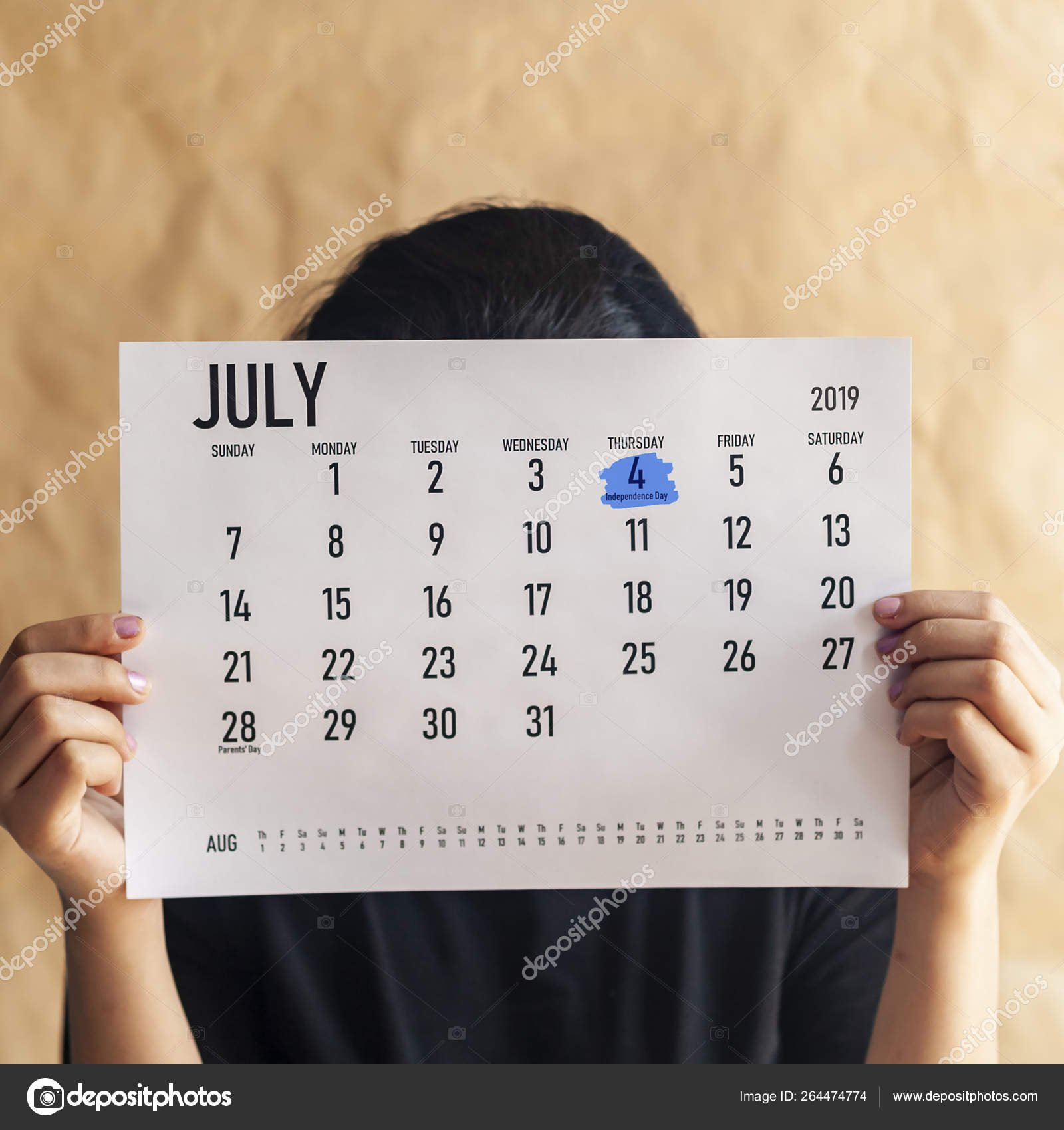 Woman Holding Calendar With Marked Day July 4, 2019 - Us July 4 2019 Calendar