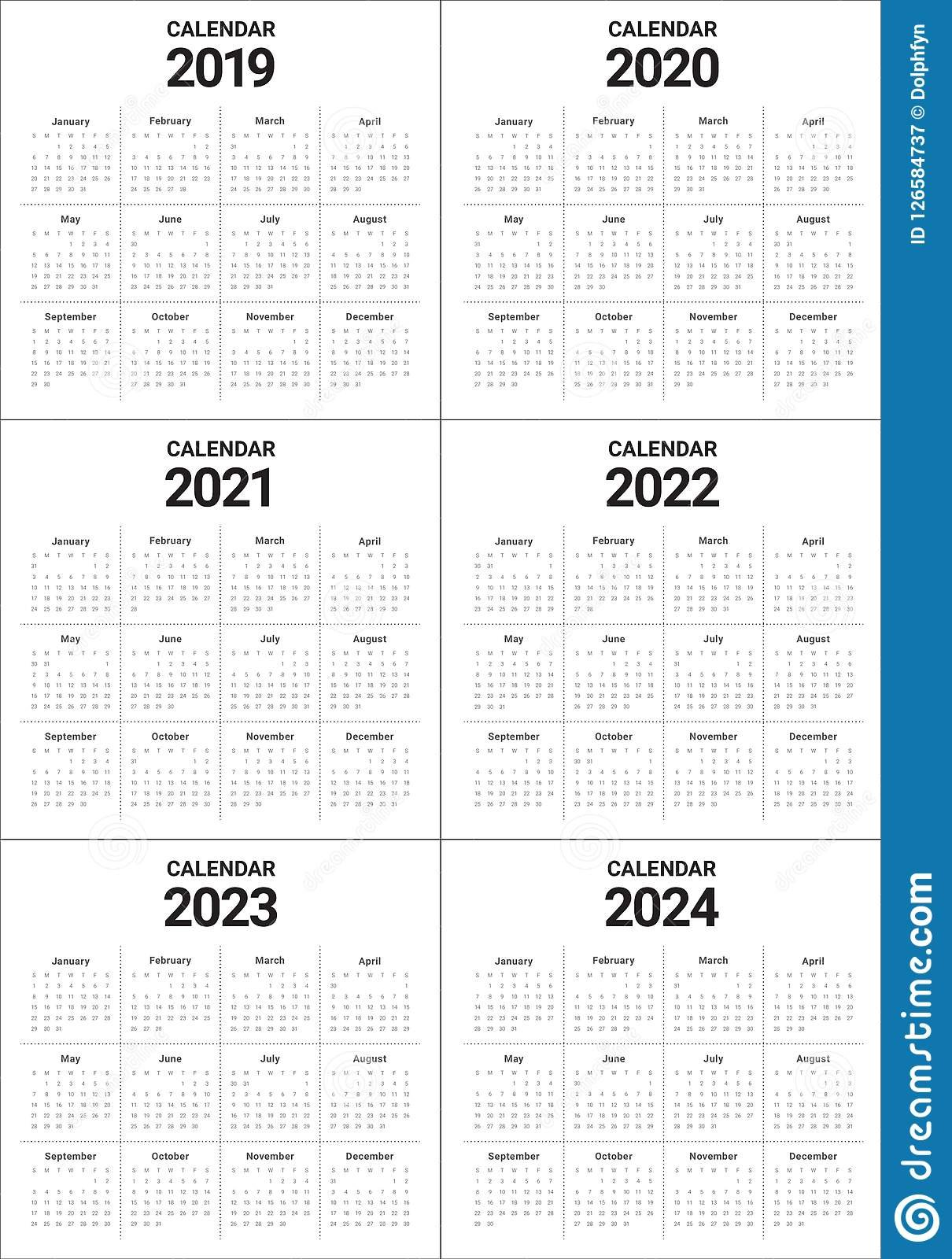 Year 2019 2020 2021 2022 2023 2024 Calendar Vector Design Templa 5 Year Calendar 2019 To 2023 Printable