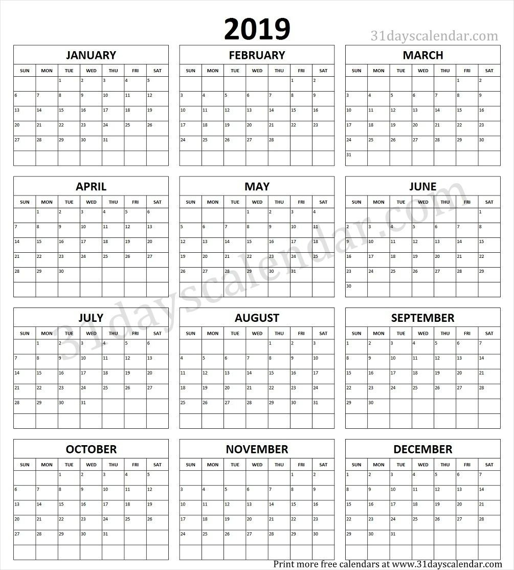 Year Calendar 2019 Printable One Page | Yearly Calendar 2019 In 2019 Calendar 2019 Liga Mx