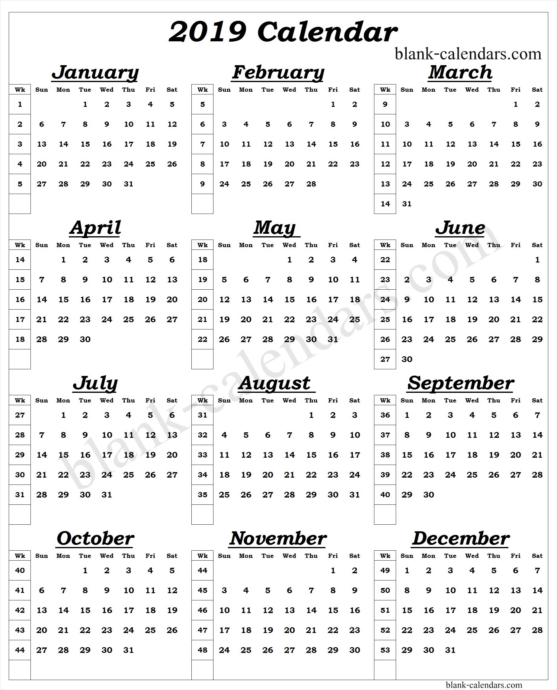 Year Calendar 2019 With Week Numbers (1) - Print Blank Calendar Template Calendar 2019 Numbered Weeks