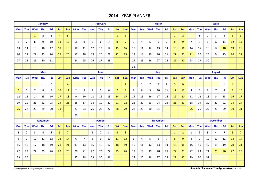 Year Planner Calendar 2019 Excel Pakistan
