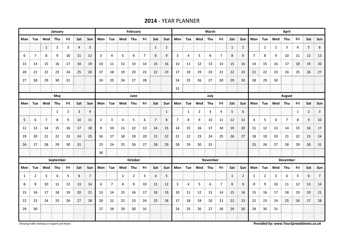 Year Planner Calendar 2019 Excel Romania
