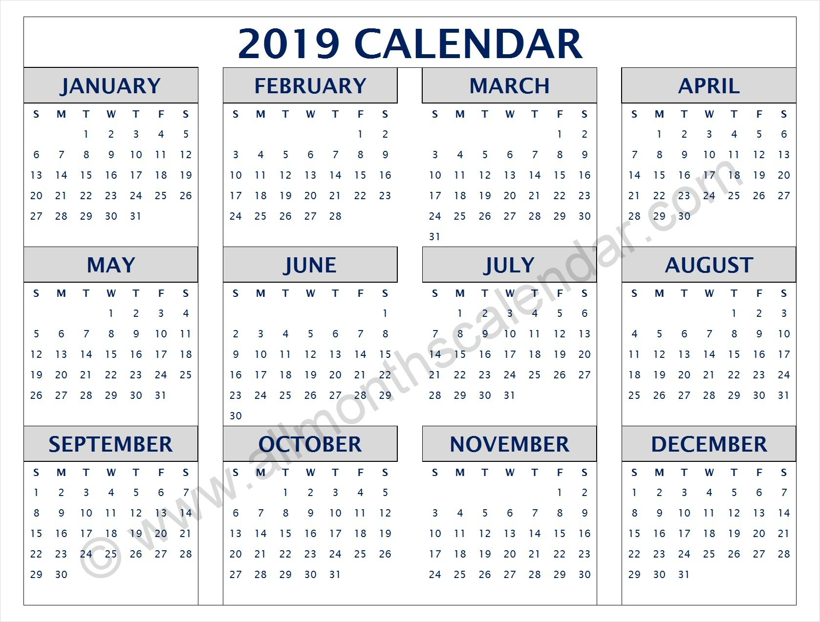 Yearly 2019 Calendar Pdf | 12 Month 2019 Calendar Printable Calendar Of 2019 Pdf