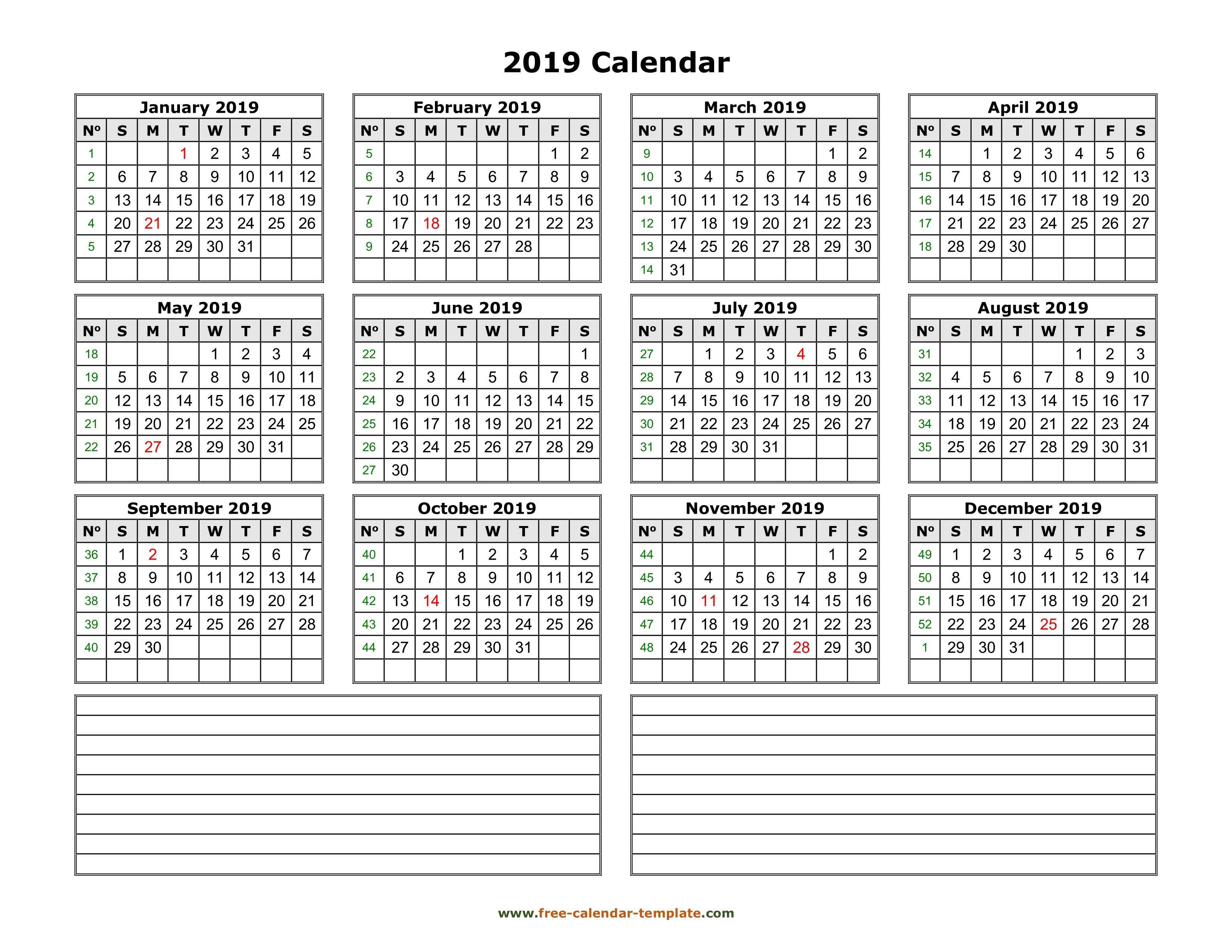 Yearly 2019 Calendar Printable With Space For Notes | Free Calendar Calendar 2019 View