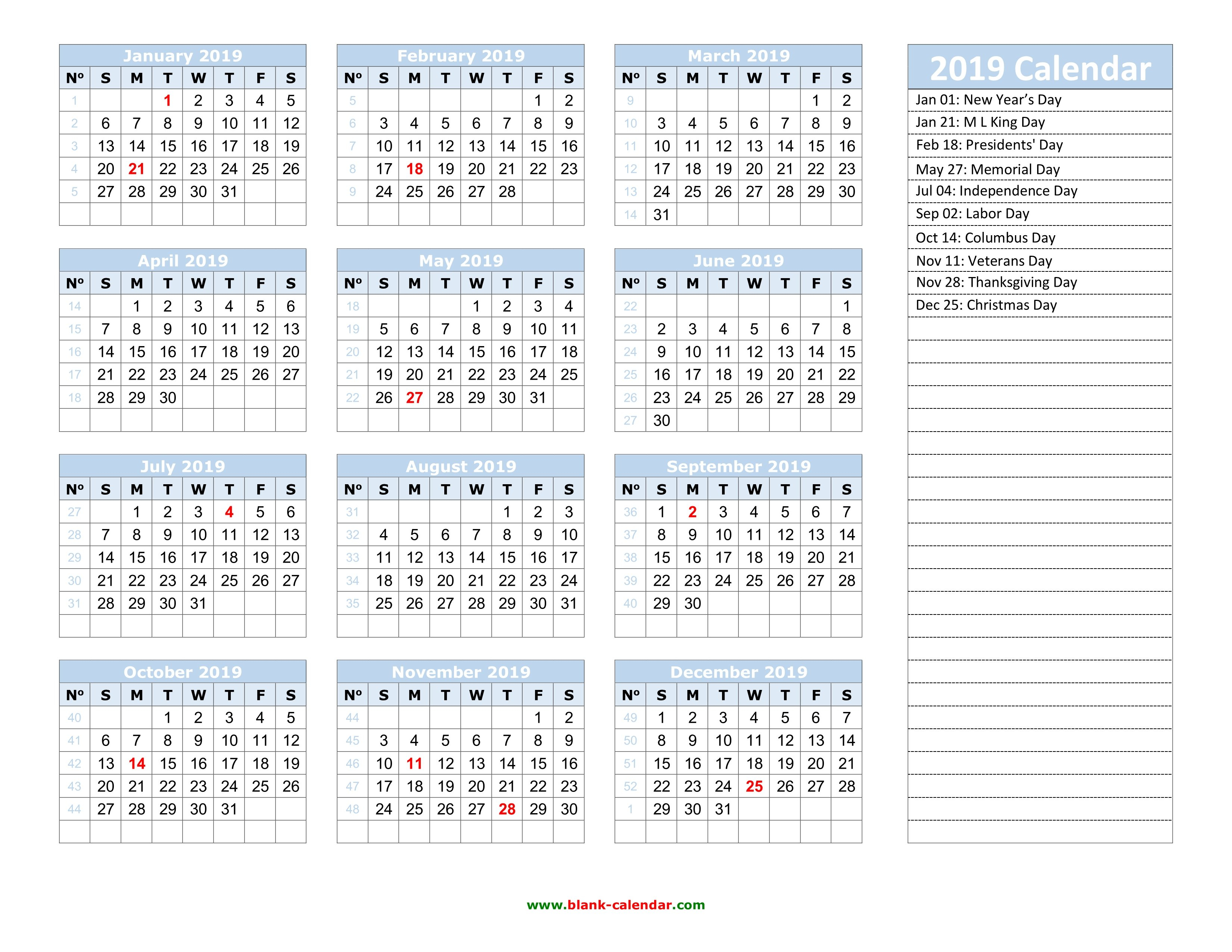 Yearly Calendar 2019 | Free Download And Print 2019 Calendar 52 Weeks