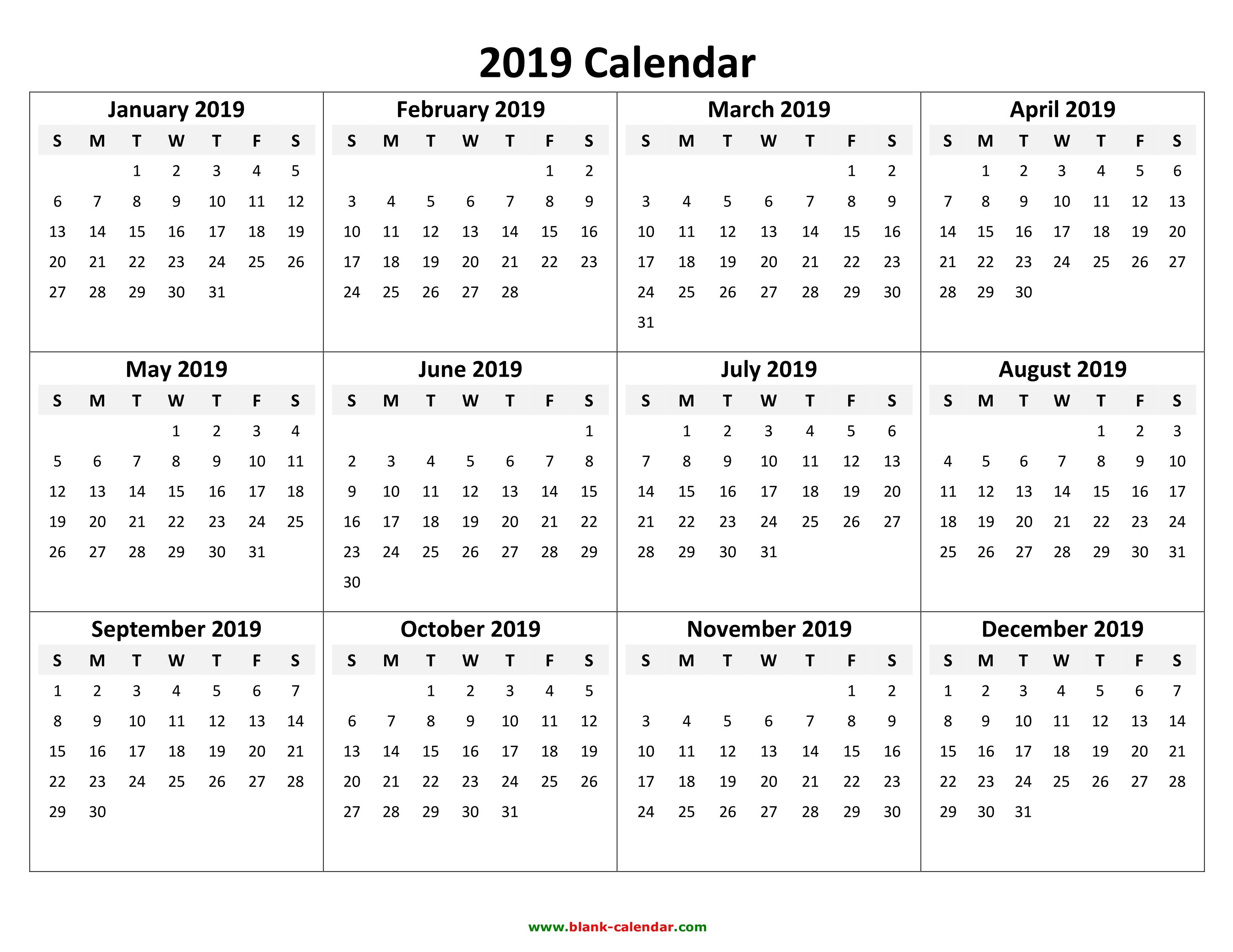 Yearly Calendar 2019 | Free Download And Print Calendar 2019 Template Pdf