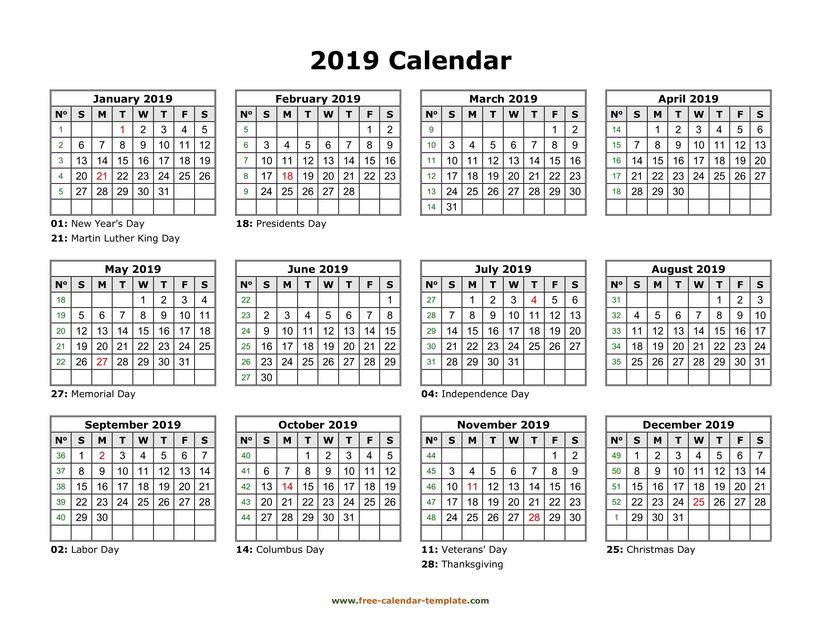 Yearly Calendar 2019 Printable With Federal Holidays | Free Calendar Calendar 2019 View