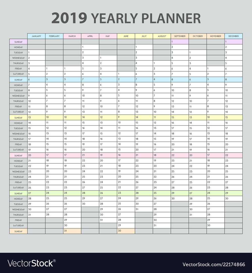 Yearly Planner 2019 Royalty Free Vector Image - Vectorstock Calendar 2019 Year Planner