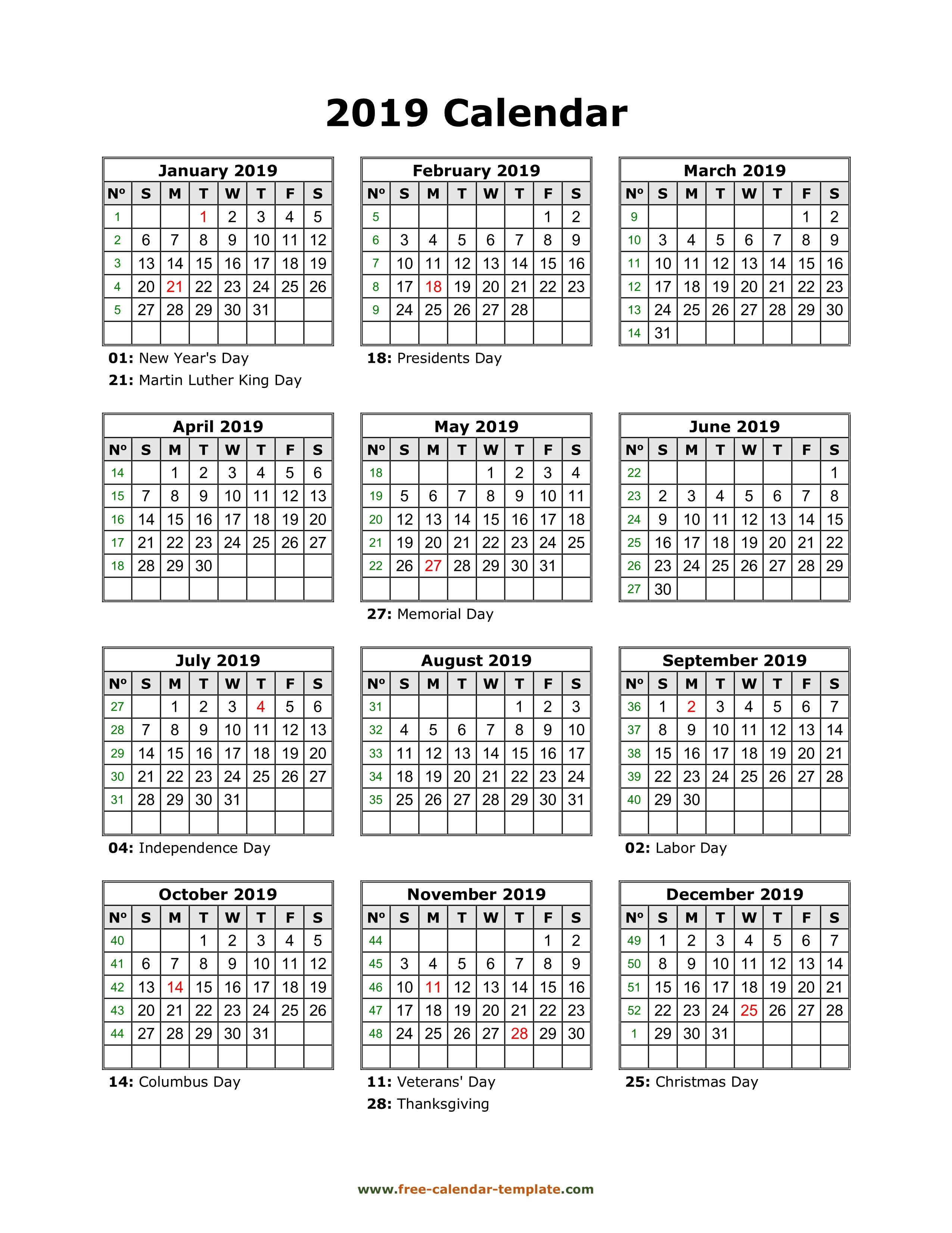 Yearly Printable Calendar 2019 With Holidays | Free Calendar Calendar 2019 View