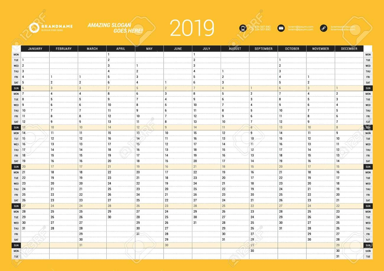 Yearly Wall Calendar Planner Template For 2019 Year. Vector Design Calendar 2019 Year Planner