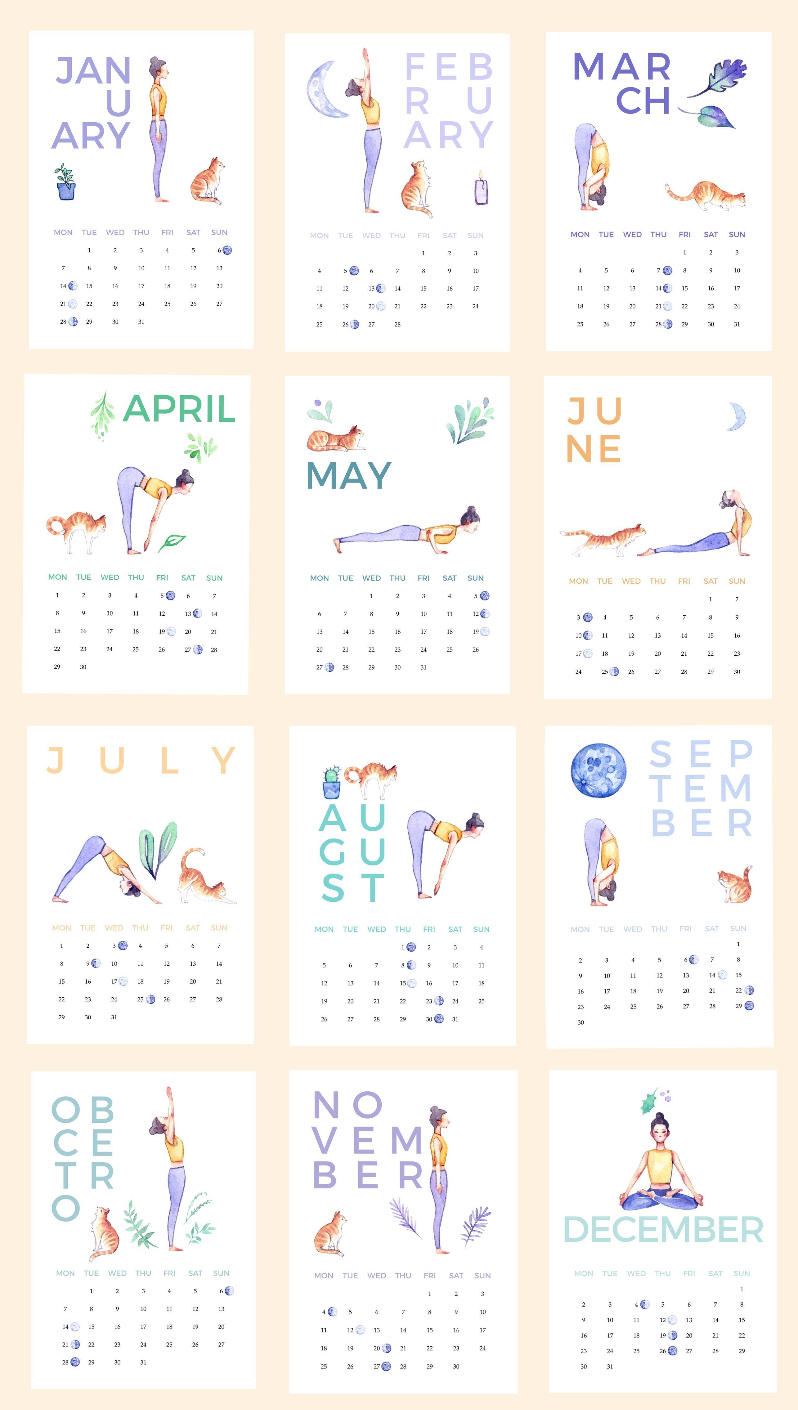 Yoga & Cat Calendar 2019 Printable, Digital Download, Illustrated Calendar 2019 Yoga