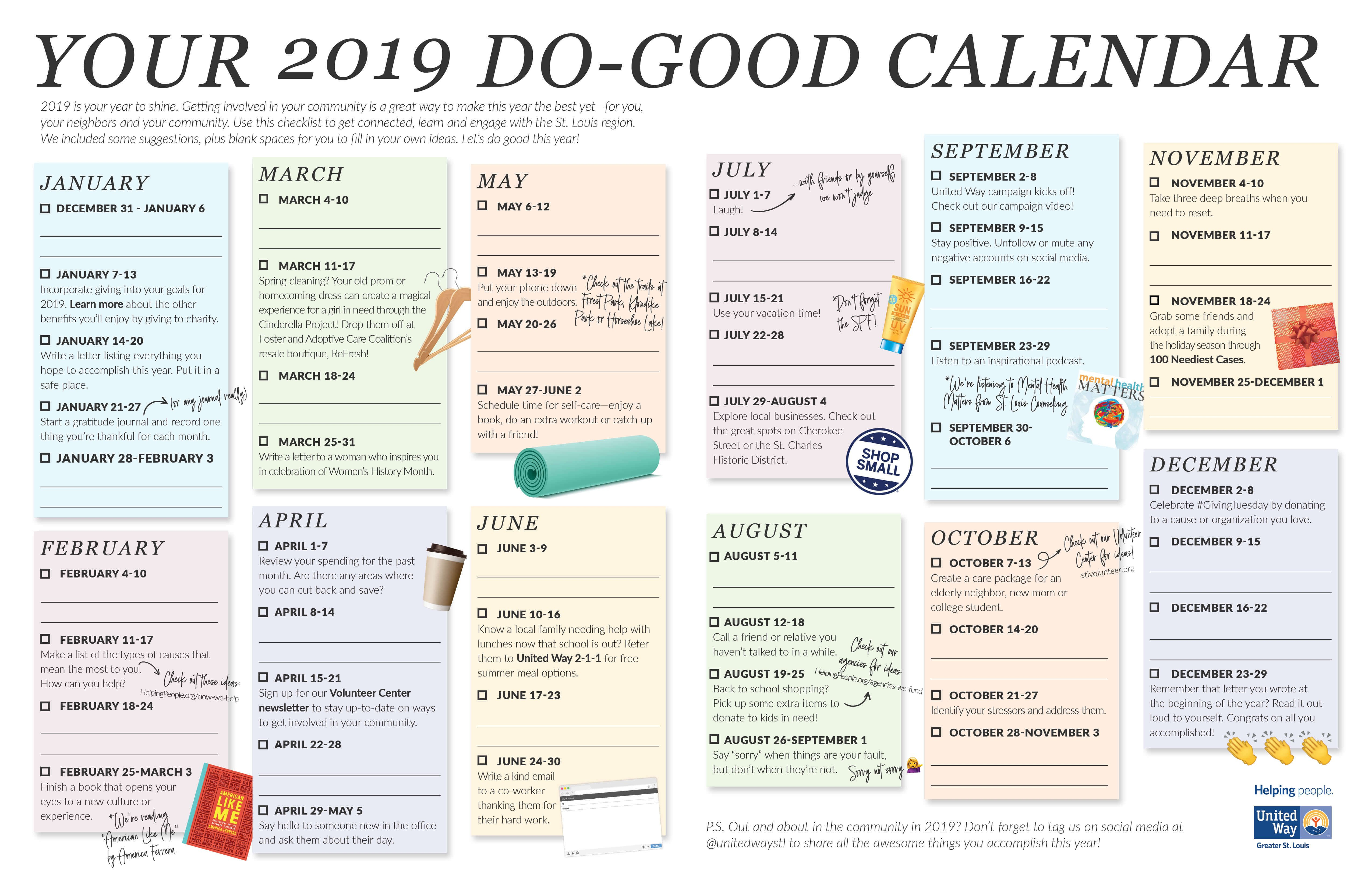 Your 2019 Do-Good Calendar | United Way Greater St. Louis Calendar 2019 Fill In