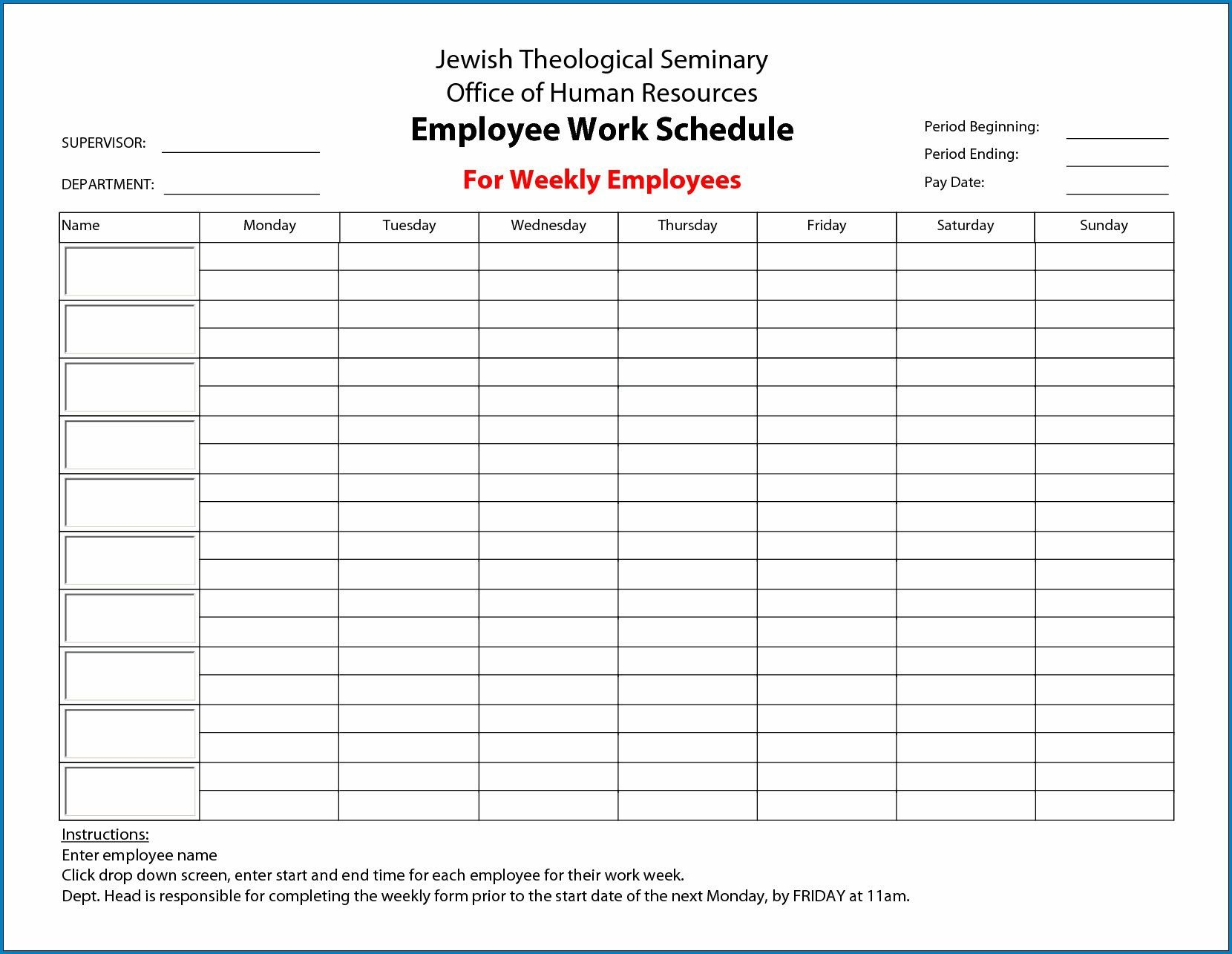 009 Fascinating Employee Schedule Template Free Image Monday Through Friday Schedule Template Free