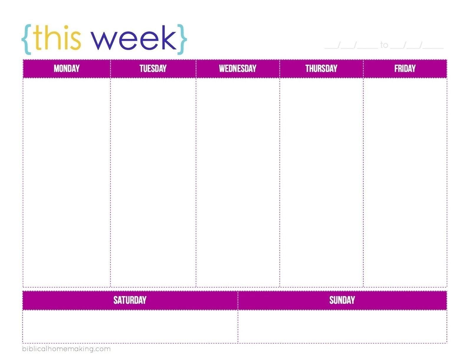 1 Week Blank Calendar Template | Holidays Calendar Template 1 Week Printable Calendar
