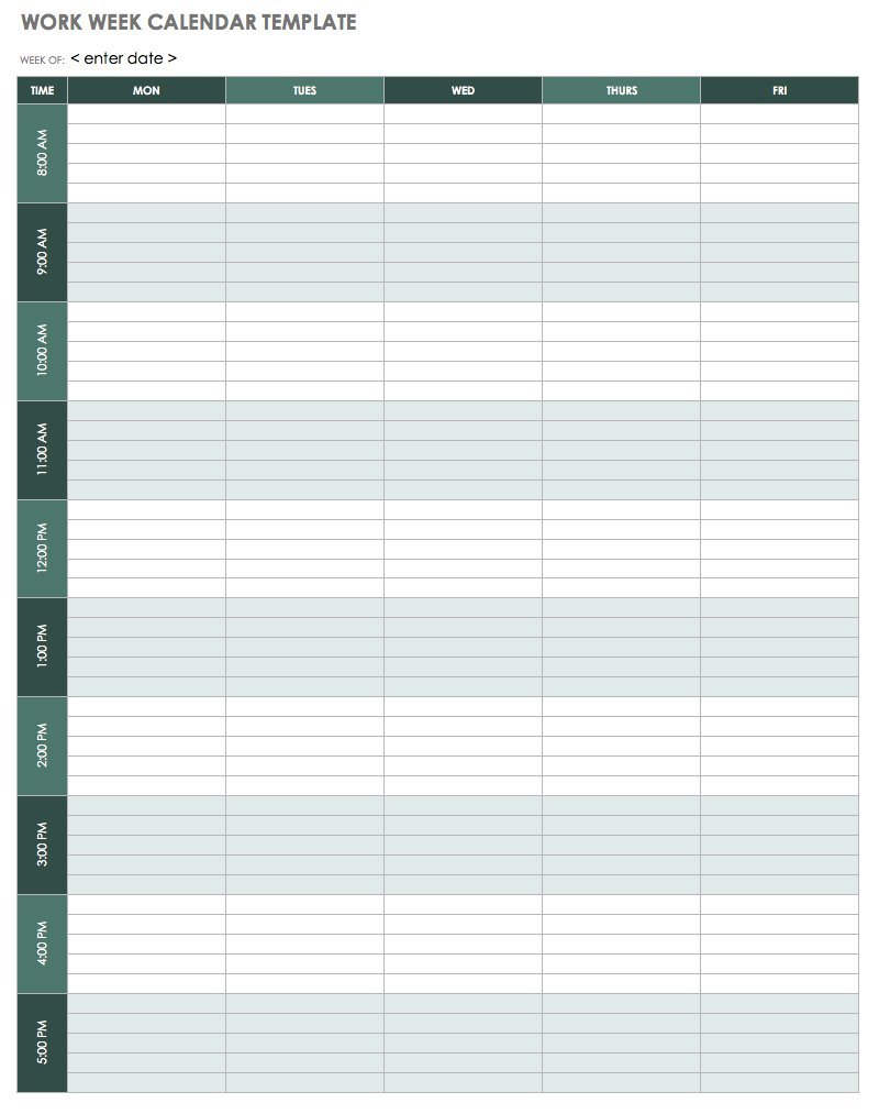 15 Free Weekly Calendar Templates | Smartsheet Free Fillable Weekly Schedule Templates