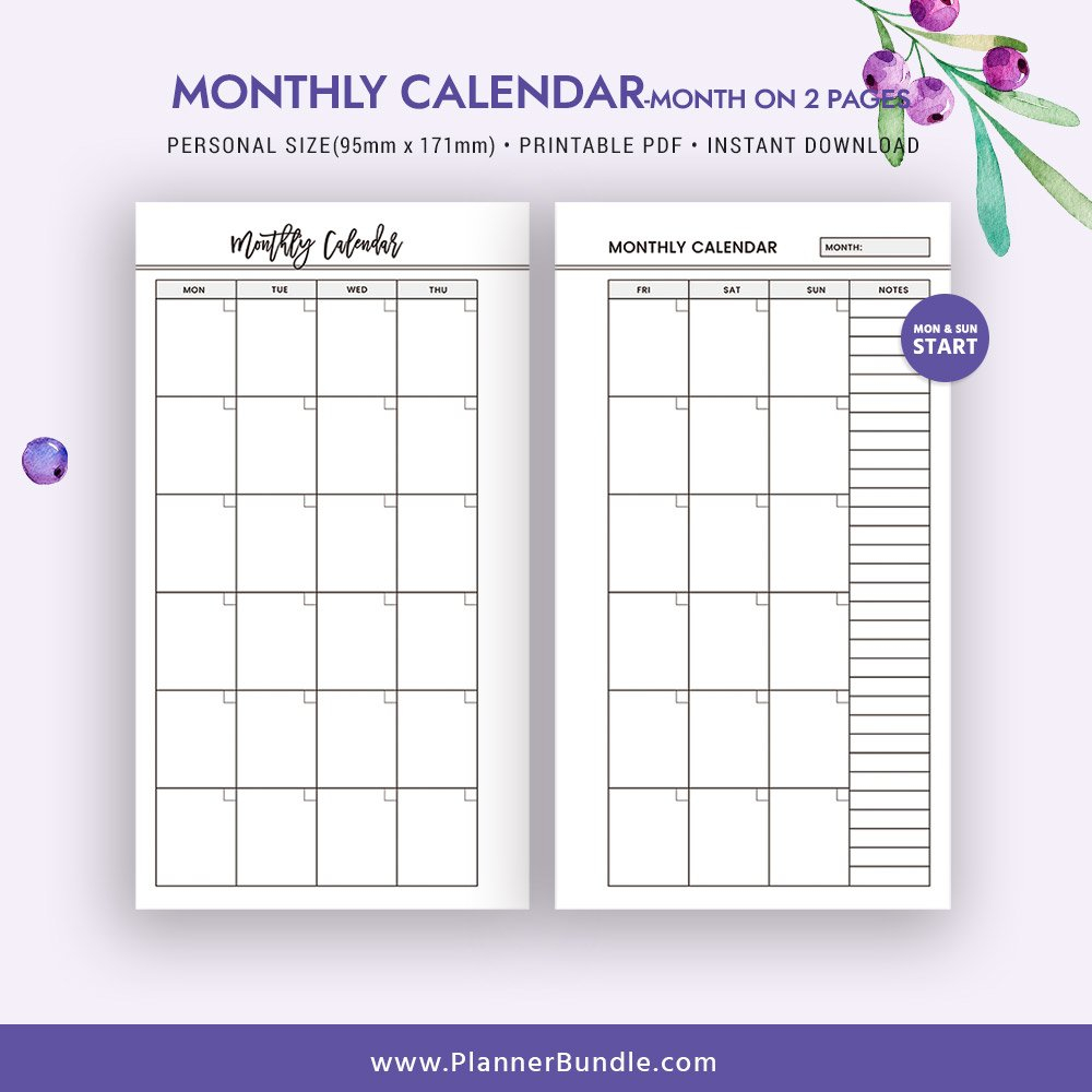 2 Page Calendar Template – Caska Printable 2 Page Monthly Calendar