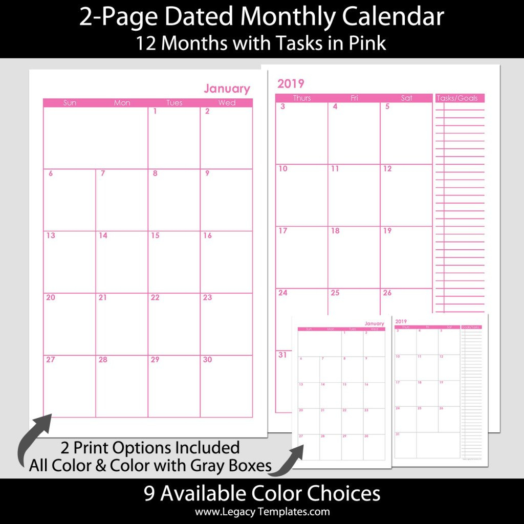 2-Page Dated Monthly Calendar In Pink 5.5 X 8.5 | Legacy 5.5 X 8.5 Calendar Template