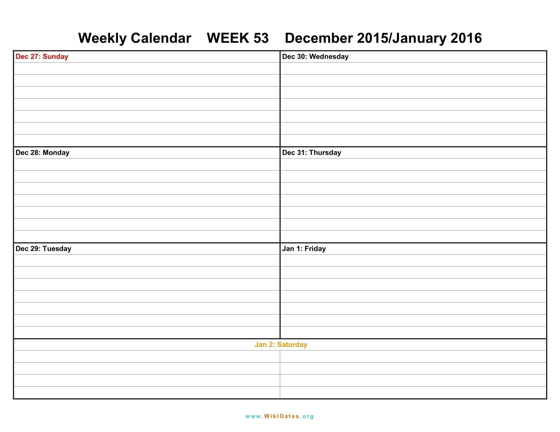 2 Week Calendar Template Excel | Free Calendar Template Example Printable One Week Calender