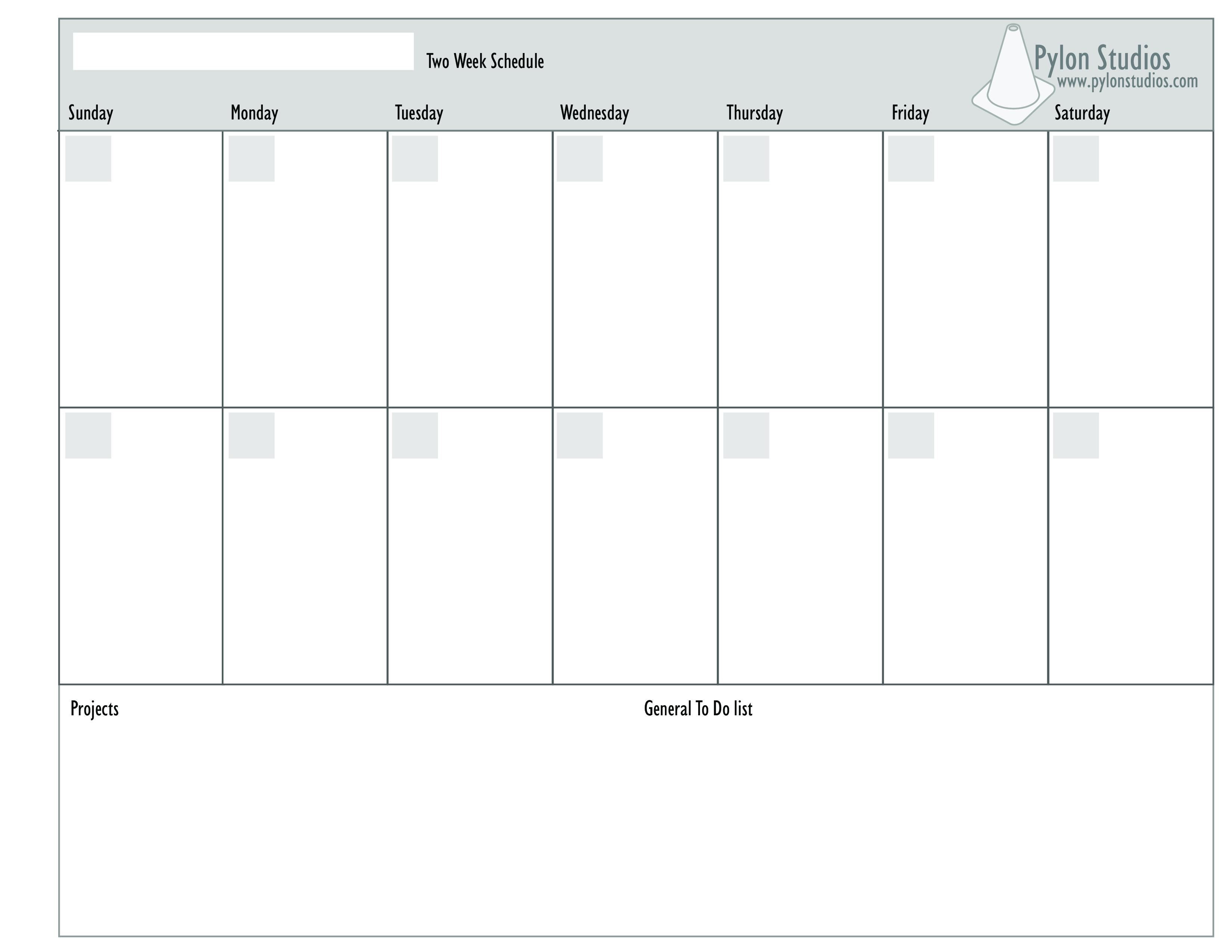 2 Week Calendar | Templates At Allbusinesstemplates Two Weeks Calendar Template