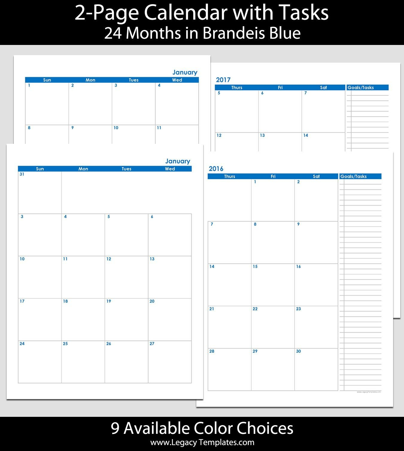 2016 & 2017 24-Month 2-Page Calendar – 8 1/2″ X 11″ | 2016 8 1/2 X 11 Blank Calendar Pages