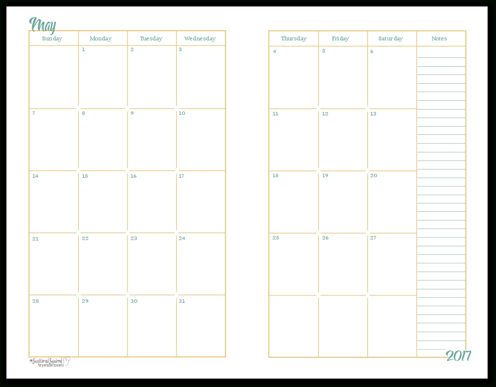 2017 Half-Size Monthly Calendar Printables | Planners-2 Page 2 Page Calendar Template Free