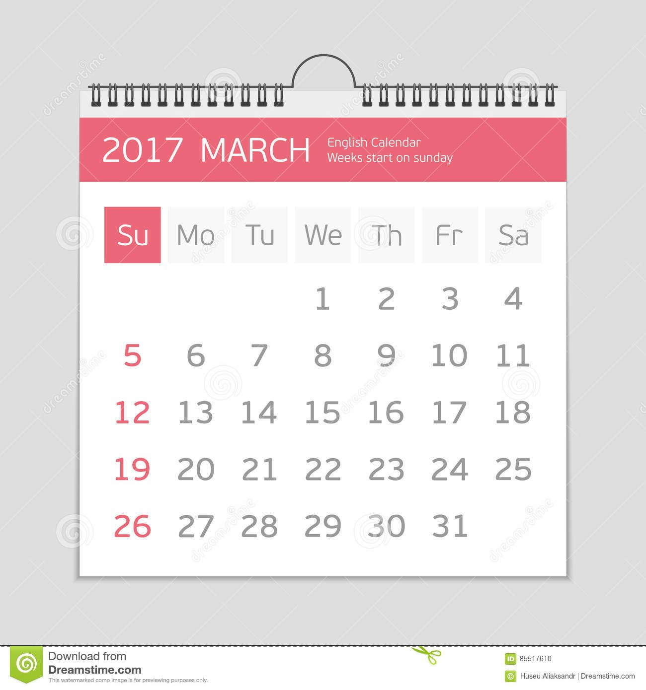 2017 March Calendar Template. Stock Vector - Illustration Of March Last 2 Weeks Calendar