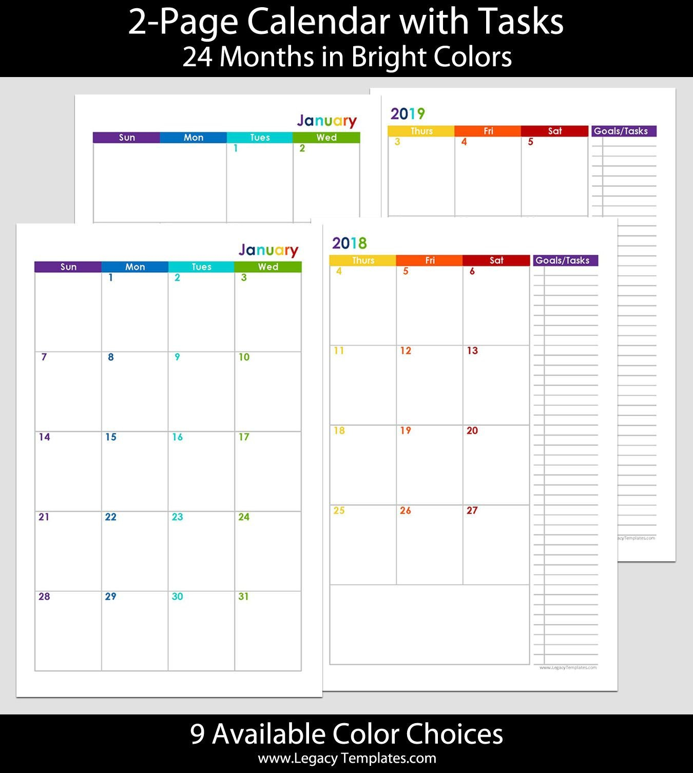 2018 & 2019 24-Months 2-Page Calendar. Printable 2-Page 5.5 X 8.5 Calendar Template
