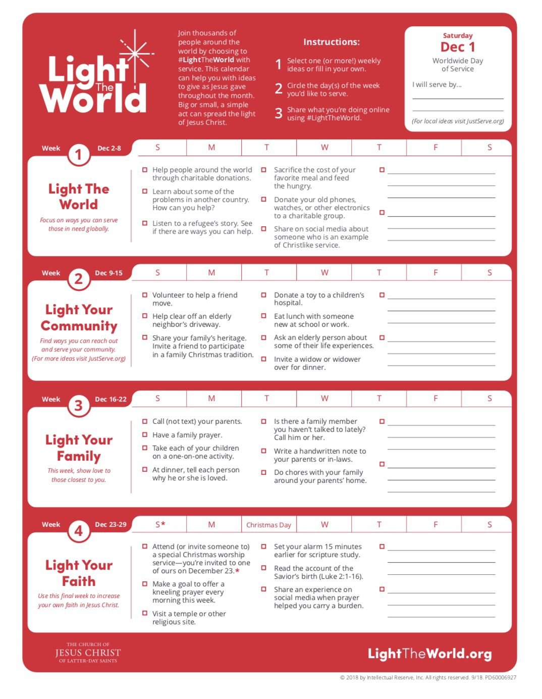 2018 Lds Light The World Calendar. | Lds Light The World Templet One Week Calender