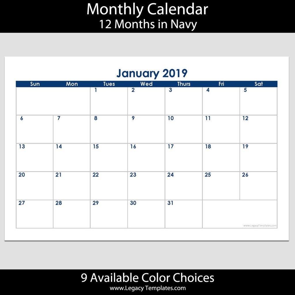2019 12-Month Landscape Calendar – 5.5 X 8.5 | Legacy Templates 5.5 X 8.5 Calendar Template