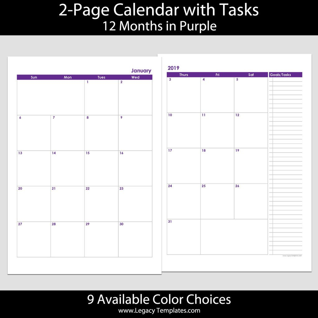 2019 12-Months 2-Page Calendar – A4 | Legacy Templates Printable 2 Page Monthly Calendar