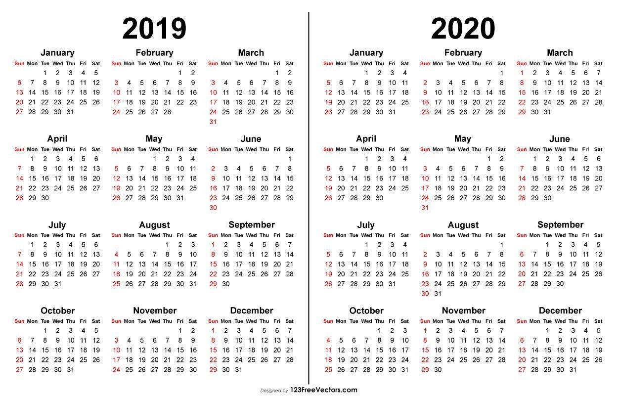 2019 2020 Calendar | Printable Calendar Template, Printable Multi Year Printable Calendars Free