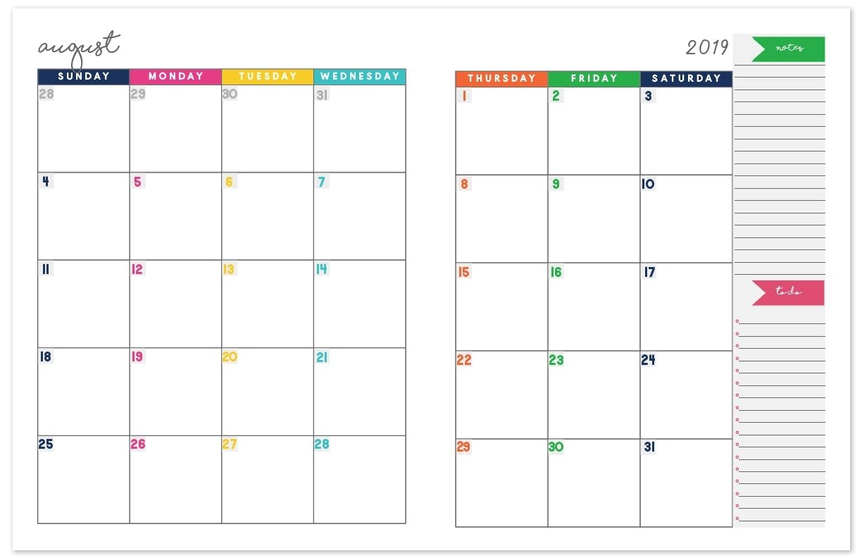 2019-2020 Monthly Calendar Planner | Free Printable Calendar 2 Page Calendar Template Free